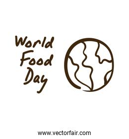 world food day celebration lettering with planet earth line style