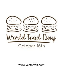 world food day celebration lettering with hamburgers line style