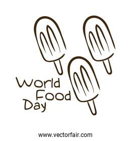 world food day celebration lettering with ice creams line style