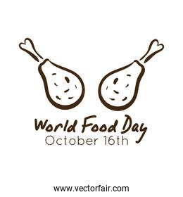 world food day celebration lettering with chicken thighs line style