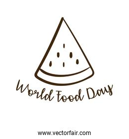 world food day celebration lettering with watermelon line style