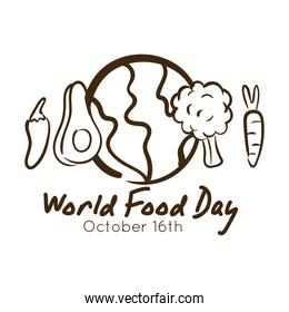 world food day celebration lettering with planet and food around line style