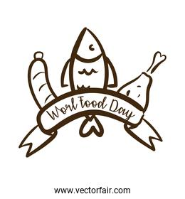 world food day celebration lettering with fish and meat line style