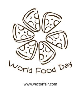 world food day celebration lettering with portions pizza line style