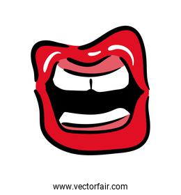 sexi mouth and teeth pop art line and fill style icon