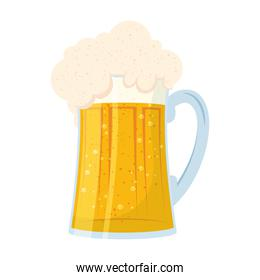 fresh beer in jar isolated icon
