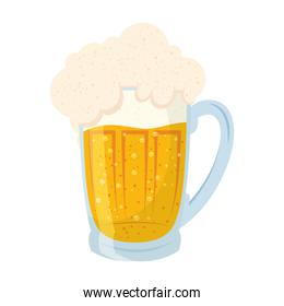 fresh beer in jar with foam isolated icon