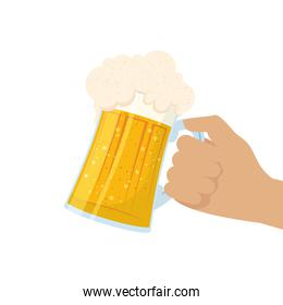 hand lifting fresh beer in jar isolated icon