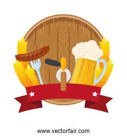 beer wooden barrel with sausage and jar