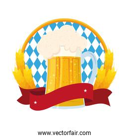 oktoberfest flag and fresh beer in jar with barley spikes
