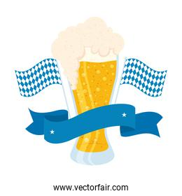 fresh beer in glass with oktoberfest flags and ribbon frame