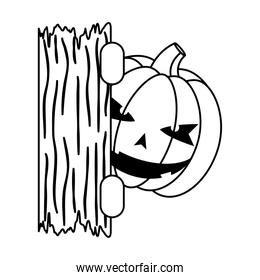 halloween pumpkin face with wooden board line style icon