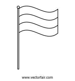 tricolor flag in pole isolated icon