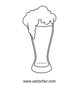 fresh beer in glass line style icon
