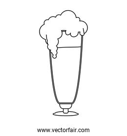 fresh beer in glass with foam line style icon