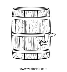 beer wooden barrel drawn line style icon