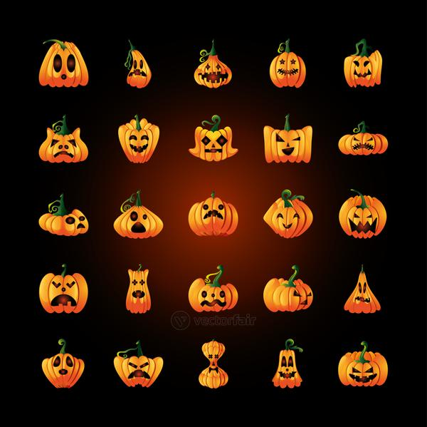 bundle of icons with pumpkins face for halloween on black background