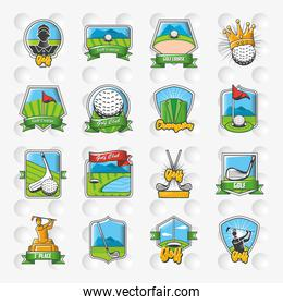 collection of golf emblems, shields and labels