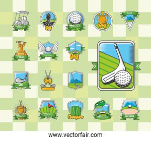 collection of golf emblems, shields, labels and badges on green background