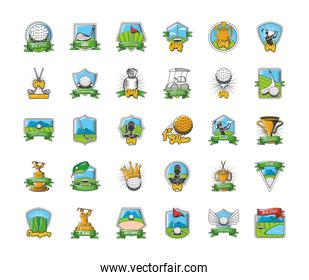 collection of golf emblems, shields, labels and badges on white background
