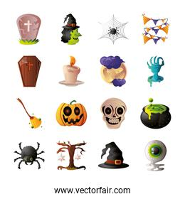 collection of icons for halloween on white background