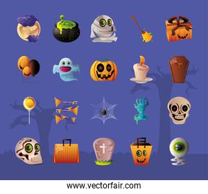 set of icons for halloween over purple background