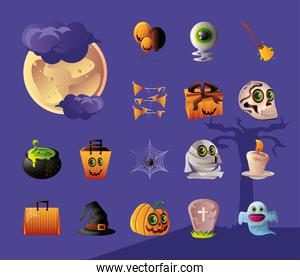 set of icons for halloween in purple background