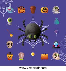 set of icons for halloween on purple background