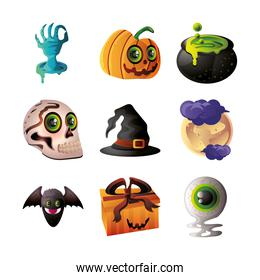 set of icons for halloween on white background