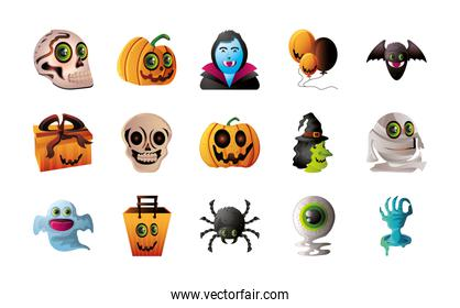 set of icons for halloween over white background