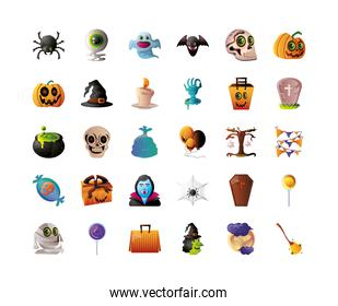 collection of icons for halloween in white background