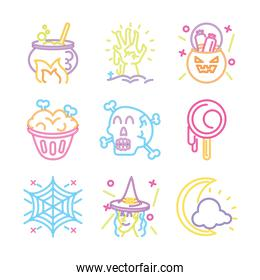set of icons in neon light for halloween