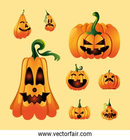 set of icons with pumpkins face for halloween