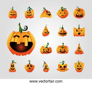 collection of icons with pumpkins face for halloween