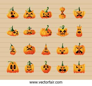 collection of pumpkins for halloween