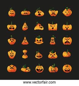 set of icons with pumpkins face for halloween on black background