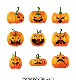 set of icons with pumpkins face for halloween on white background