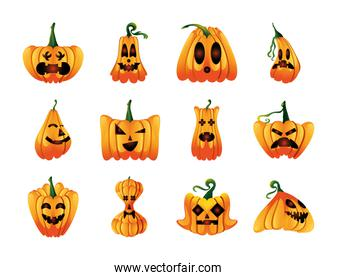set of icons with pumpkins face for halloween in white background