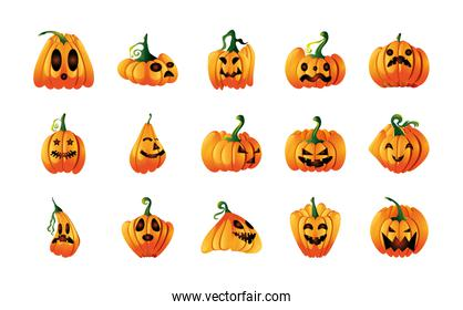 set of icons with pumpkins face for halloween over white background