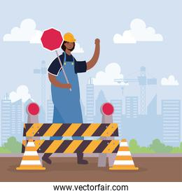 constructor worker with barricade and stop signal scene