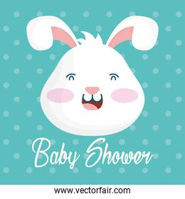 baby shower card with bunny head dotted background