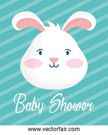 baby shower card with bunny head stripes background