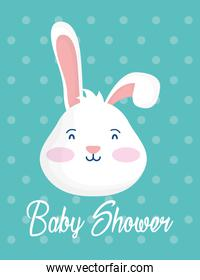 card baby shower with rabbit head dotted background