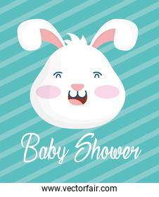baby shower card with rabbit head stripes background