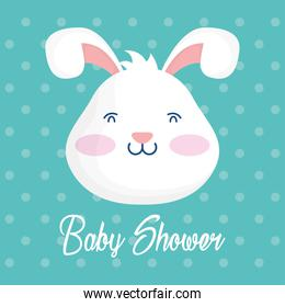 baby shower card with rabbit head dotted background