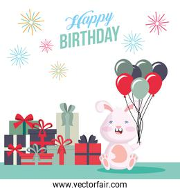 happy birthday card with rabbit and gifts party scene