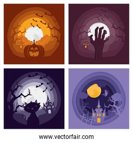 happy halloween card with four set dark scenes