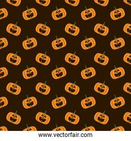 happy halloween card with pumpkins pattern background