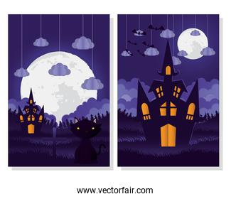 happy halloween card with cat and castle scenes