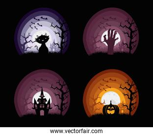 happy halloween card with four set scenes